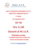 NO AL CONCORSO ORDINARIO SIT-IN DAVANTI AL MIUR IL 22 FEBBRAIO 2019 ORE 11.00