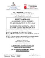 VOLANTINO E PROCLAMAZIONE SCIOPERO 18 SETTEMBRE 2019